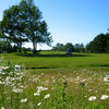A look at the 9th tee box with daisies in foreground at Freeport Country Club