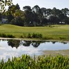 A view over the water of a green at Meadows Golf Course from Pennbrooke Fairways