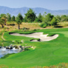 A view of a green protected by bunikers at Desert Course from Primm Valley Golf Club