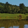 A pond catches errant shots up the right side of the seventh fairway on the White golf course at Shawnee Inn and Golf Resort in Shawnee on Delaware, Pa.