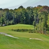 The 16th hole at The Rock Golf Club tumbles downhill over the rocky shield.