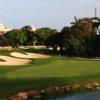 A view of a green with water coming into play at Hard Rock Golf Club Riviera Maya