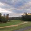 A view of fairway #1 with bunkers and water coming into play Salem Glen Country Club