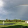 A rainbow over Island Lake Golf & Training Center