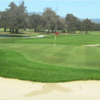A view of a hole with water and a bunker coming into play at Salinas Fairways Golf Course