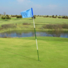 A view of a green with water coming into play at Prairie View Golf Club