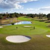 A view of a hole with water and bunkers coming into play at Plantation on Crystal River