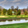 View of a bunkered green at Raccoon Hill Golf Club